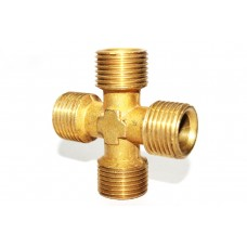 Brass Cross Four Way Adapter Male