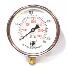 "Pressure Gauge Bottom Connection 3/8 BSP (100MM / 4"" Dial) SS Body Glycerin filled"