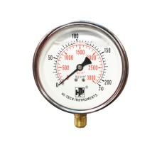 "Pressure Gauge Bottom Connection 1/4 BSP (65MM / 21/2"" Dial) SS Body Glycerine filled"